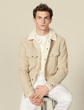 Corduroy jacket with faux shearling lining : Jackets color Beige