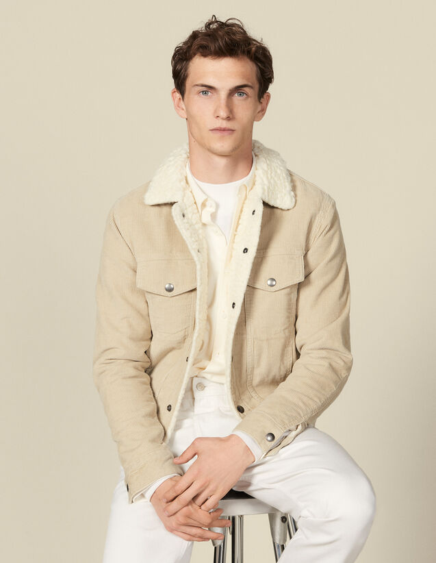 Corduroy jacket, faux shearling lining : Jackets color Beige