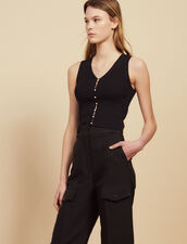 Ribbed Knit Sleeveless Top : Sweaters color Black