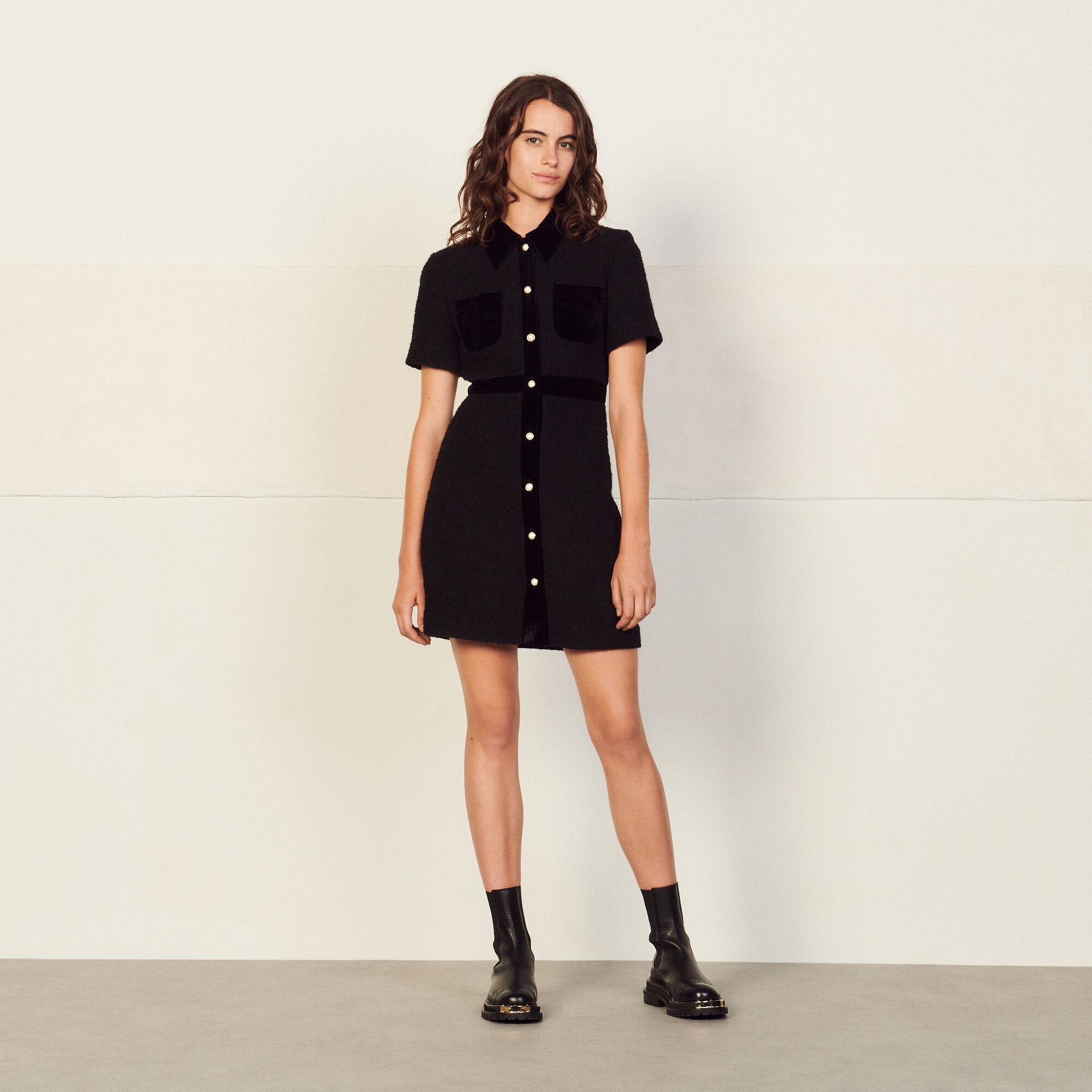 Sandro Dual-material tweed dress