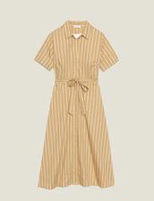 Striped Short-Sleeved Shirt Dress : Dresses color Beige