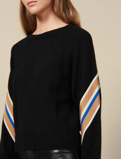 Sweater with wide striped braid edging : Sweaters & Cardigans color Black