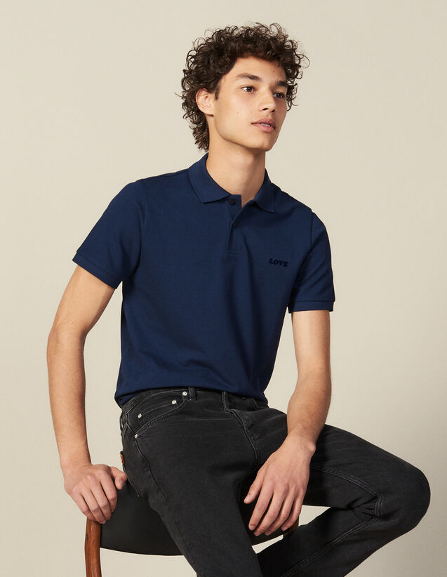 Cotton Polo Shirt With Lettering : New Collection color Blue