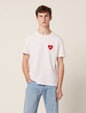 Cotton T-Shirt With Flocked Heart : T-shirts & Polos color white