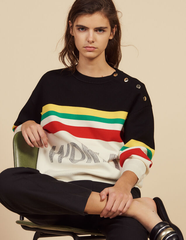 Multi-Colored Striped Slogan Sweater : Sweaters color Black