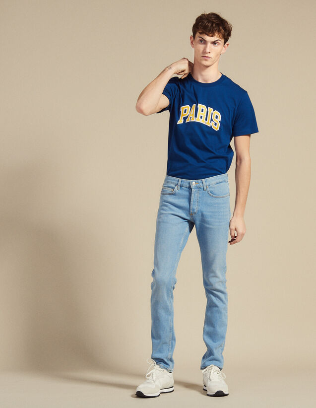 Faded Jeans With A Narrow Cut : Jeans color Blue Vintage - Denim