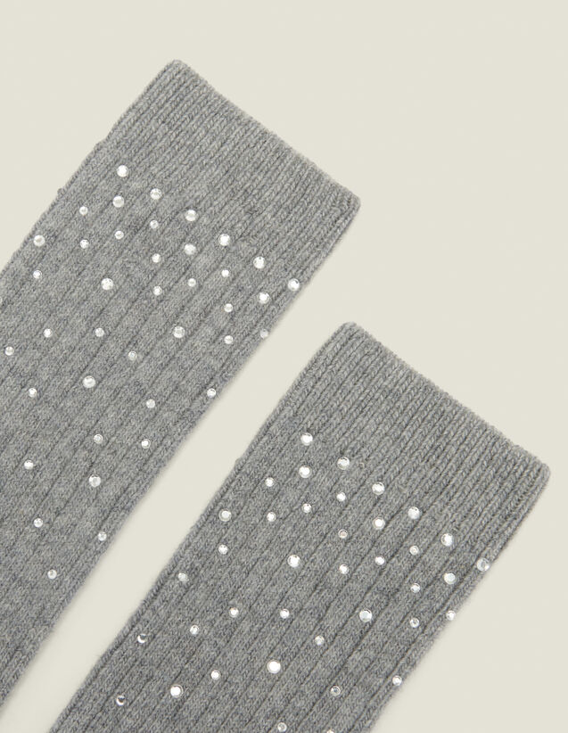 Socks embellished with rhinestones : Other Accessories color Camel