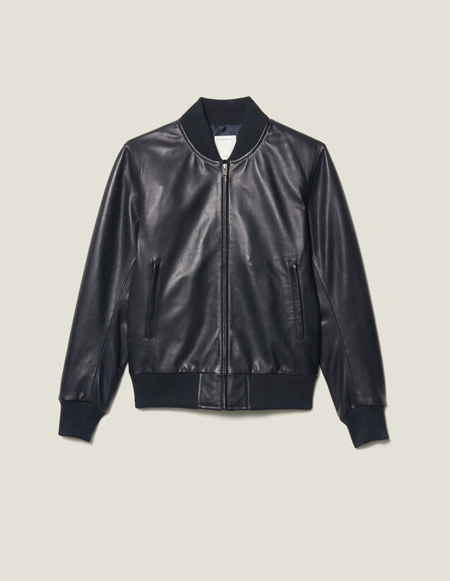 Zipped leather jacket : Jackets color Navy Blue