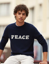 Wool and cashmere sweater with message : Sweaters color Navy Blue