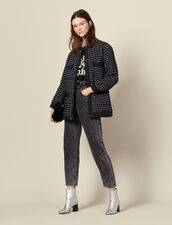 Oversized quilted tweed jacket : Jackets color Navy Blue
