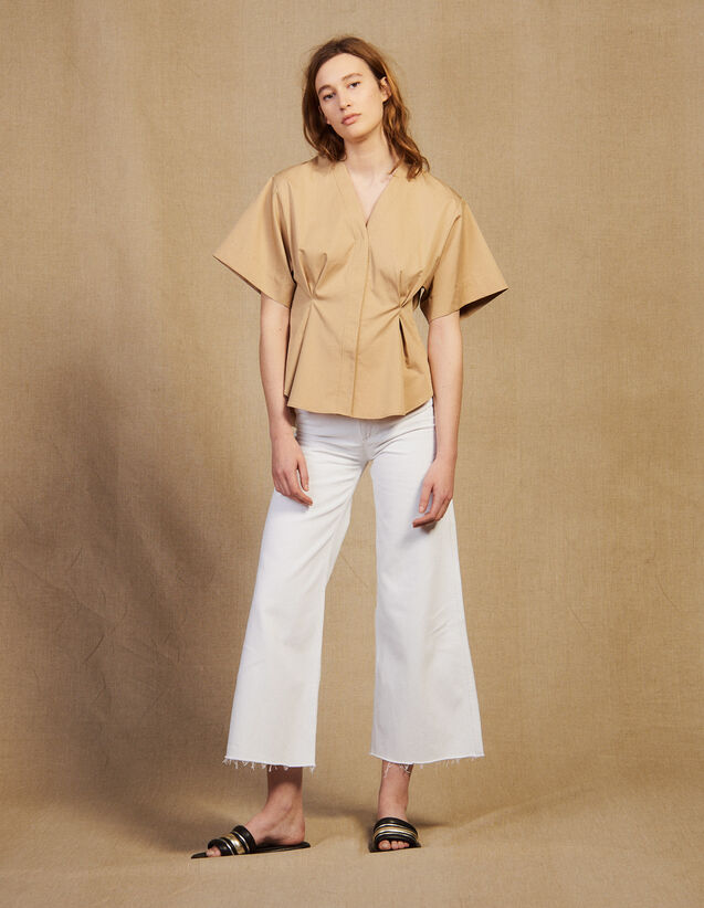Short-Sleeved Cotton Blouse : Tops & Shirts color Beige
