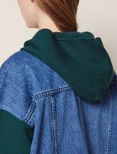 Dual Fabric Hoodie Cardigan : Sweaters color Green