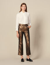 Flared Brocade Tailored Pants : Pants & Shorts color Gold
