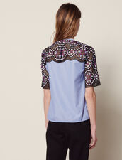 Dual Fabric Floral Guipure Lace Top : Tops & Shirts color Black