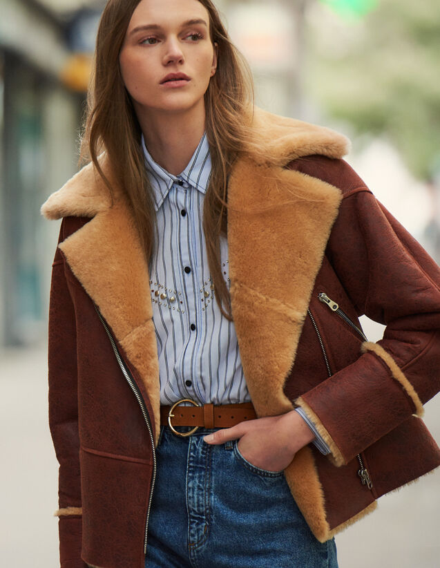 Two-tone sheepskin aviator jacket : Coats color Brown