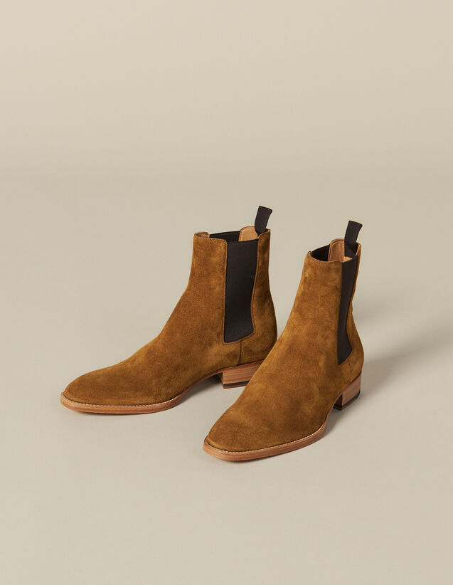 Suede Chelsea Boots : Shoes color Caramel