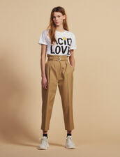 Belted High-Waisted Pants : Pants & Shorts color Beige