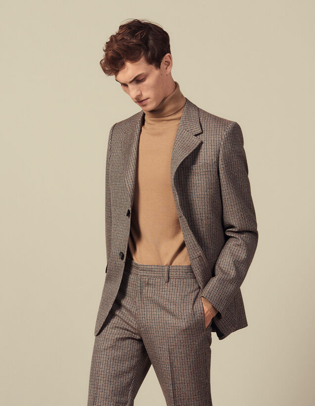 Houndstooth suit jacket : Suits & Blazers color Camel