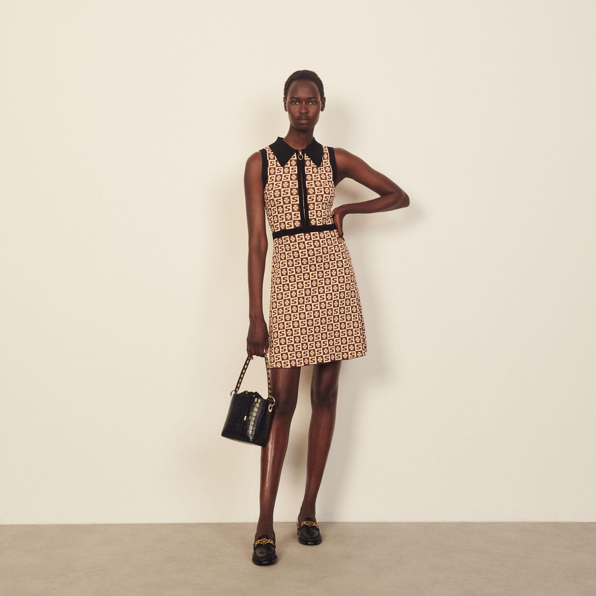 Sandro Sleeveless jacquard pattern polo dress