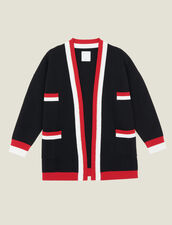 Cardigan with contrasting stripes : Sweaters & Cardigans color Black