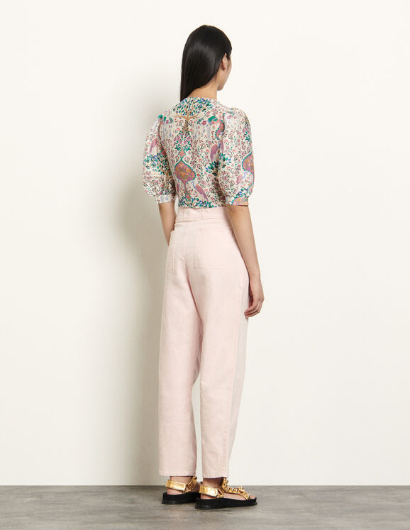Printed cropped top in linen and silk : Tops & Shirts color Ivory