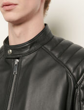 Leather jacket with quilted trims : Spring Pre-Collection color Black
