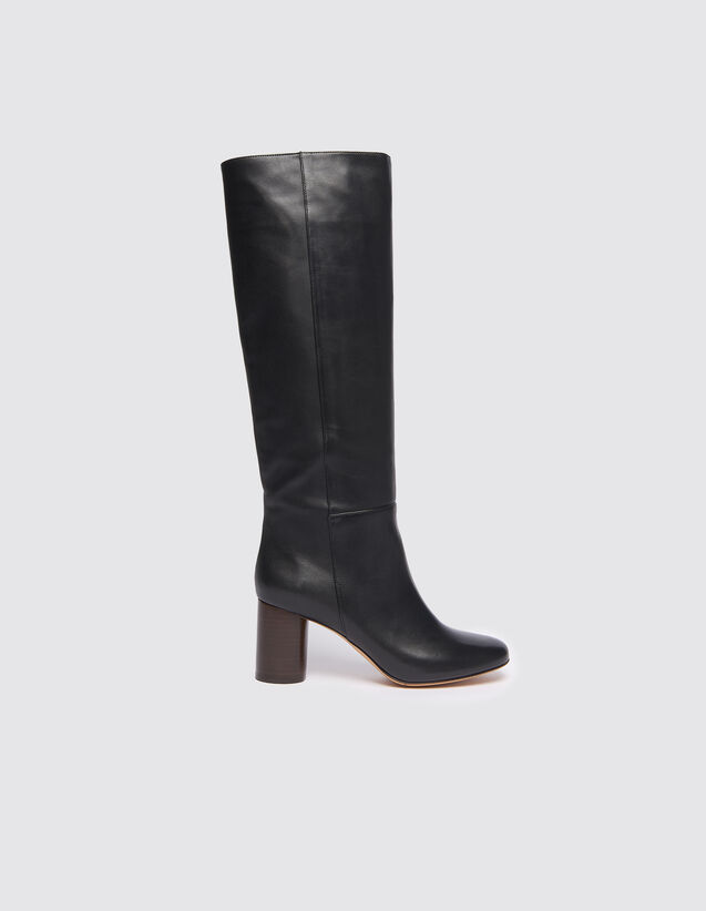 Round-Toe High Boots : Shoes color Black