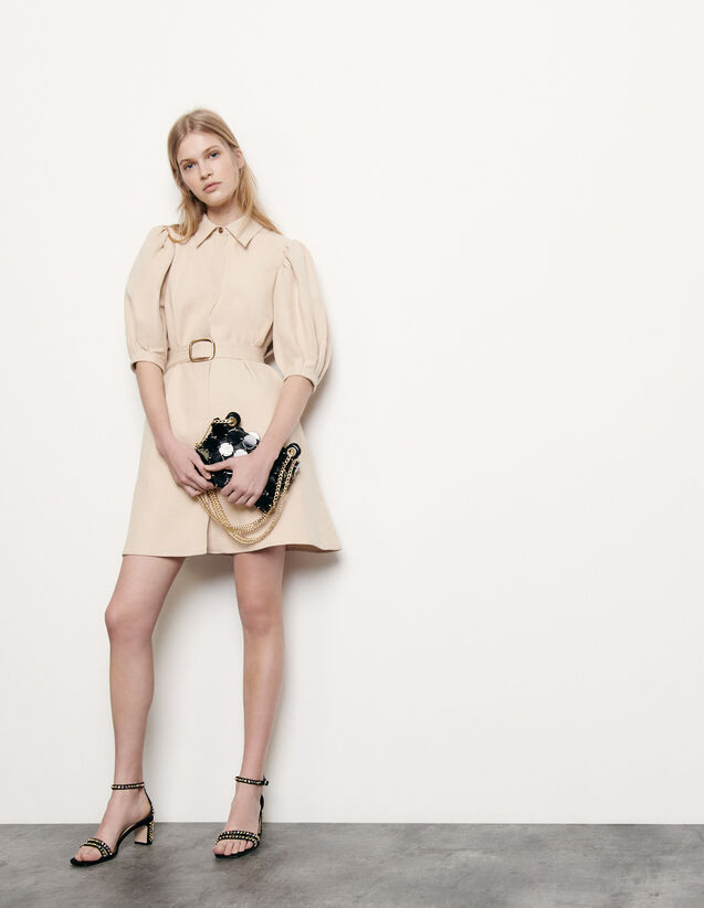 Coat dress in cotton and linen : Spring Pre-Collection color Beige