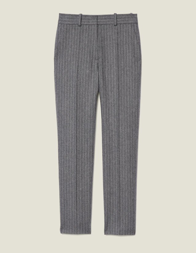 Flannel pants with pinstripes : Pants & Shorts color Grey