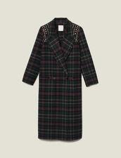 Long Coat With Rhinestone Shoulders : Coats color Bottle Green
