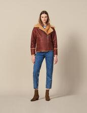 Two-tone sheepskin aviator jacket : Coats color Brown
