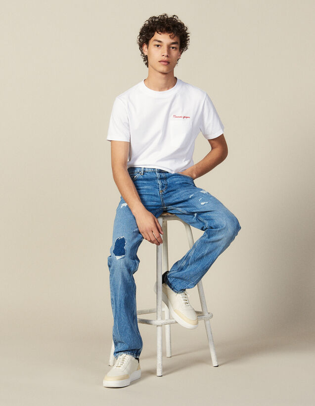 Destroyed Cotton Slim-Fit Jeans : New Collection color Blue Vintage - Denim