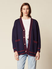 Cardigan With Embroidery On The Back : Sweaters color Navy Blue