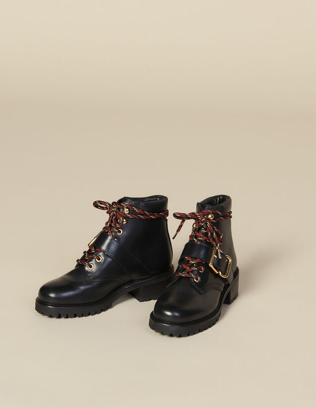 Smooth leather ranger boots : Shoes color Black