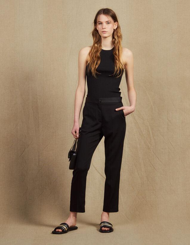 Pants with satin inset : Pants & Shorts color Black