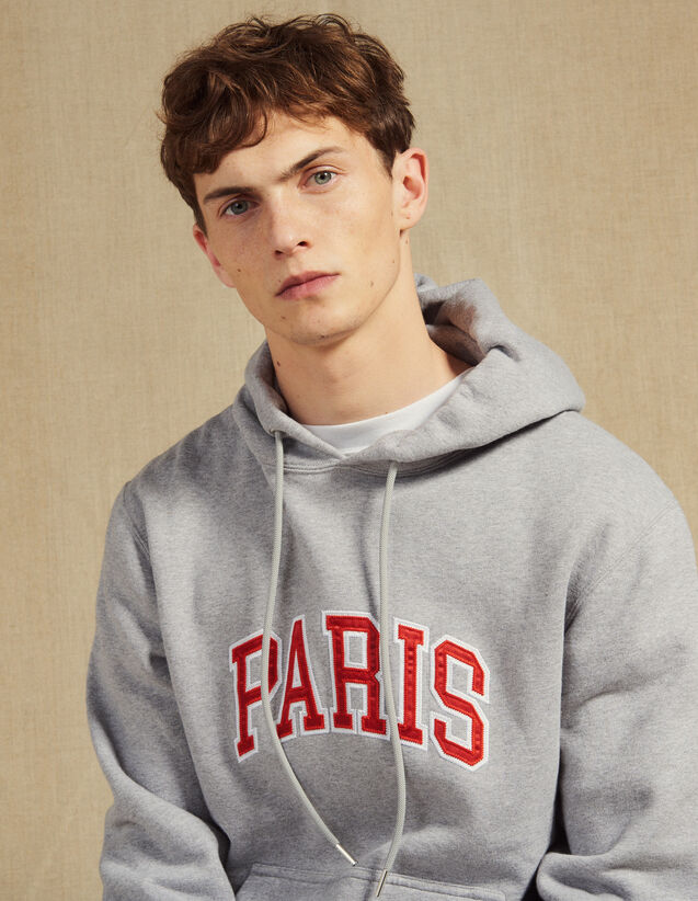 Hoodie With Patch Lettering : Sweaters color Mocked Grey