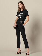 High-waisted pants with buckles : Pants & Shorts color Black