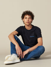 Cotton T-Shirt With Lettering : T-shirts & Polos color Navy Blue