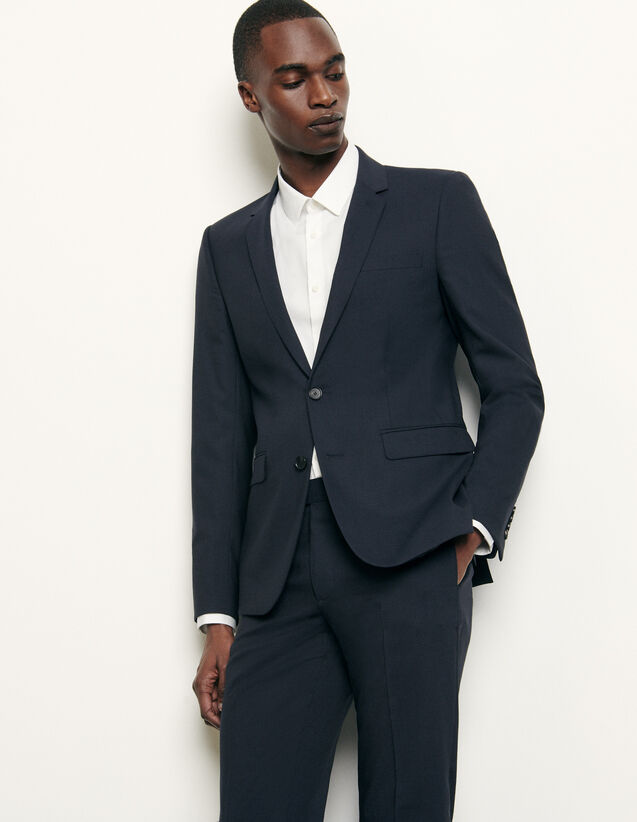 Classic wool suit jacket : Spring Pre-Collection color Navy Blue