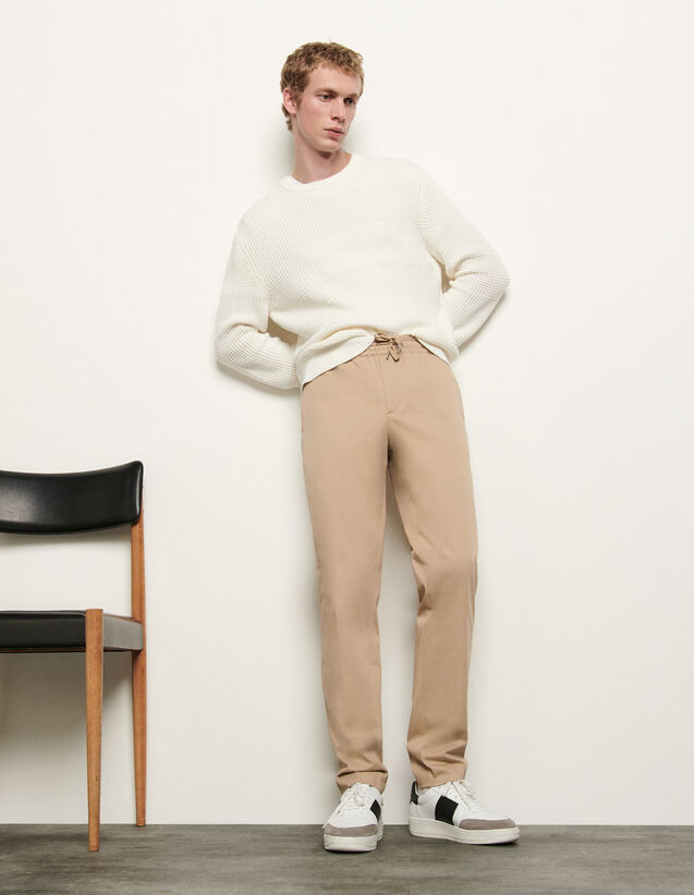 Trousers with elasticated waistband : Spring Pre-Collection color Beige