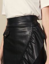 Short Leather Skirt With Ruffle : Skirts color Black