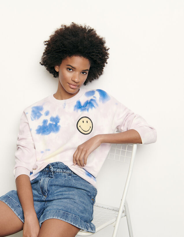 Tie-dyed sweater with embroidered smiley : Spring Pre-Collection color Multi-Color
