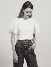 T-Shirt With Ruffled Sleeves : Tops & Shirts color white