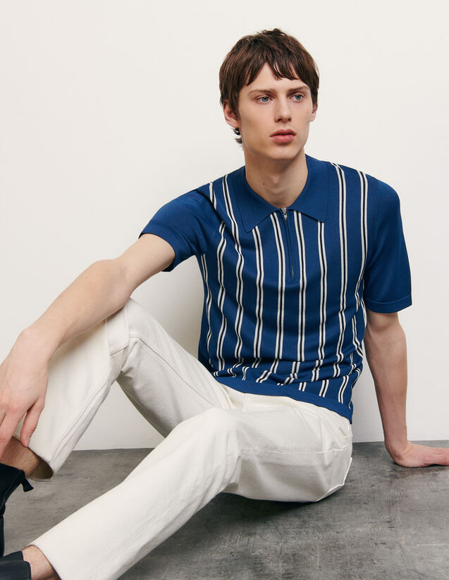 Striped knit polo shirt : Spring Pre-Collection color Blue