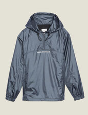 Hooded Windbreaker : Coats & Jackets color Grey