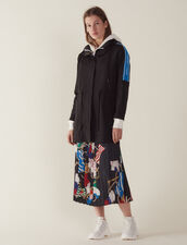 Windbreaker Coat With Lettering On Trim : Coats & Jackets color Black