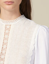 Top With Lace Panel : Tops & Shirts color white