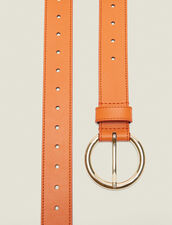 Leather Belt : Other Accessories color Orange