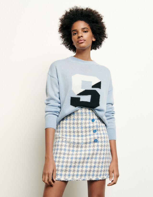 Short houndstooth tweed skirt : Spring Pre-Collection color Blue sky