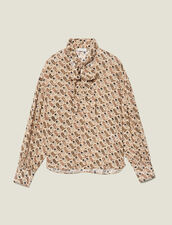Printed flowing top with bow collar : Tops & Shirts color Beige